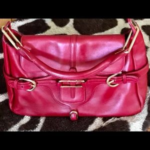 Jimmy Choo Red Tulita Hobo Leather Large Satchel